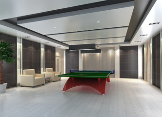 Ping Pong table in room, 3D render