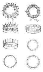 Roman Crowns, vintage engraving