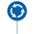 Roundabout crossroad road traffic sign isolated blue arrows