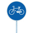 Bicycle lane sign indicating bike route blue round isolated
