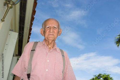 Elderly 80 plus year old man outdoors