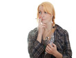 inhalation young smoking woman keeping inhale mask, isolated
