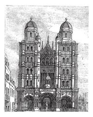 Dijon Cathedral in Burgundy, France, vintage engraving
