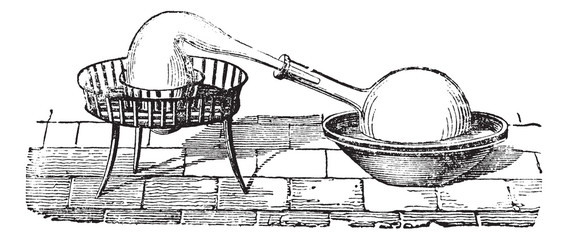 Simple Distillation Apparatus, vintage engraving