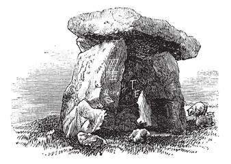 Dolmen or Portal Tomb or Portal Grave, vintage engraving
