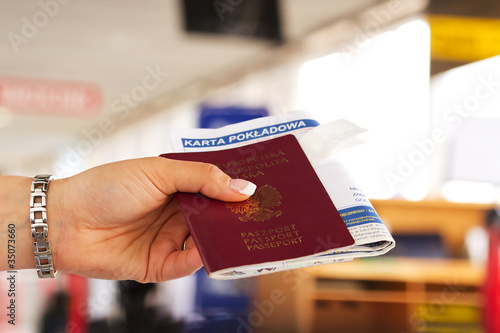 Passport check in on airport