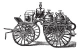 Horse-driven Fire Wagon, vintage engraved illustration