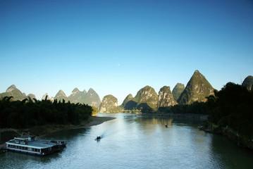 Li river sunset landscape,yangshuo of china