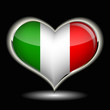 a heart with the flag of italy isolated on a black background