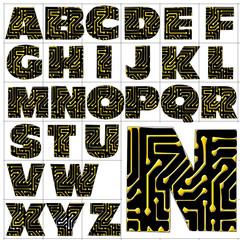 ABC Alphabet background printed circuit design