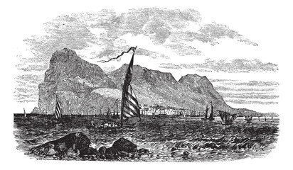 Gibraltar in Iberian Peninsula Europe vintage engraving