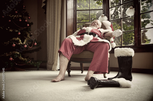 Santa rests after his big night