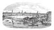 Canal and buildings at Hamburg,Germany vintage engraving