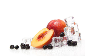 ice cube with fresh fruits