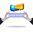 hands with social network and chat box