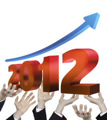 hand of businessman raise graph of new year 2012 up