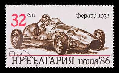 BULGARIA - CIRCA 1986: vintage car Ferrari 1952, circa 1986