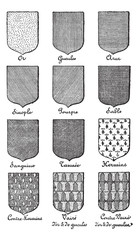 Variety of enterprise enamels used in Heraldry vintage engraving