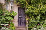 Wooden front door of old stone brick house covered in ivy and pl