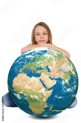 Plexiglas Fillette se reposant sur la Terre.