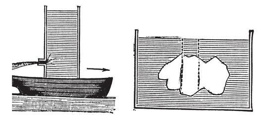Archimedes principle vintage engraving