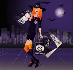 Halloween witch shopping, vector illustration