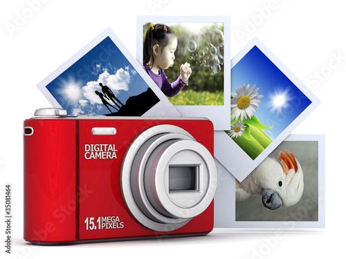 Digital camera image on white background
