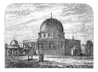 Dome of the Rock in Jerusalem Israel vintage engraving
