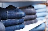 jeans clothes on shelf in shop