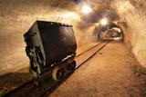Underground train in gold, silver and copper mine.