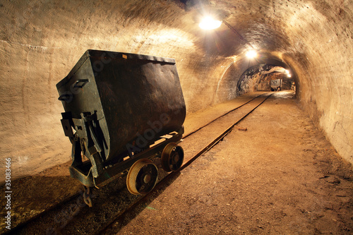 Underground train in gold, silver and copper mine.