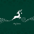 Jumping Reindeer, Christmas Ball & Snowflakes Green Background