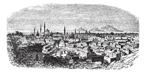 Konieh or Koniah city anciently known as Iconium vintage engravi