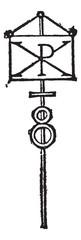 Labarum or Chi-Rho symbol for Christ vintage engraving