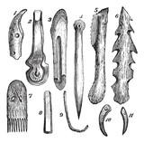 Bone implements, flint and wood, found in Moosseedorf vintage en poster