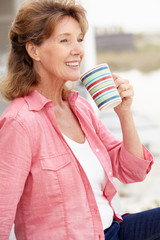 Senior woman relaxing outdoors