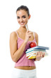 Young woman with apple and notebooks, isolated