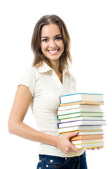 Young happy woman with textbooks, isolated
