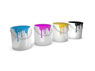 Farbeimer, Farbtöpfe cmyk / paint pot