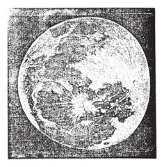 Full Moon Photograph taken by Prof. H. Draper New York vintage e