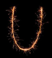 Letter U. Real sparkler alphabet