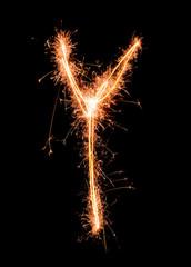 Letter Y. Real sparkler alphabet