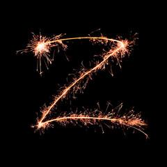 Letter Z. Real sparkler alphabet