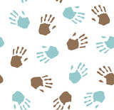 Seamless pattern - imprint hands poster
