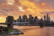 Manhattan Skyline with a Fiery Cloudscape