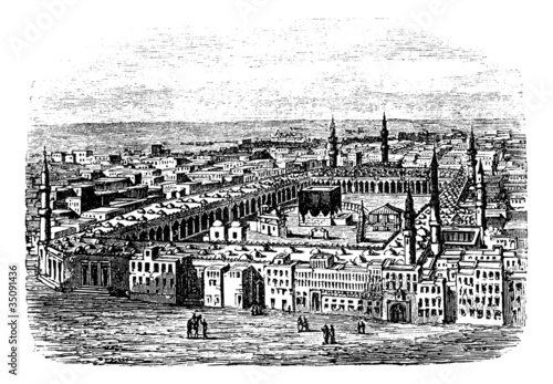 Grand Mosque in Mecca, vintage engraving