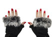 Woman hands with fashion winter gloves