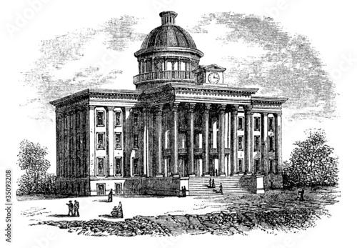 Alabama State Capitol Building, United States, vintage engraving