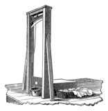 Guillotine isolated on white, vintage engraving