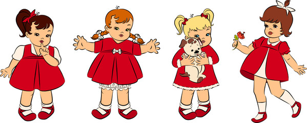 Vintage cartoon little girls. Vector set